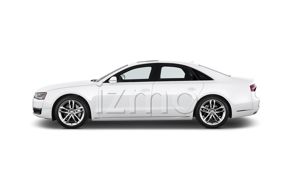 Car driver side profile view of a 2015 Audi A8 4.0T NWB quattro Tiptronic 5 Door Sedan