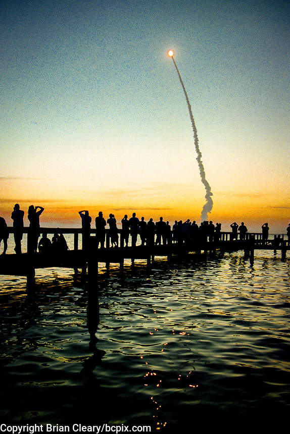 "6:11a.m. EDT launch, Space Shuttle  Atlantis, STS 101Mission, May 2000, Kennedy Space Center, Titusville, FL.  Crew:  Commander James D. Halsell Jr., Pilot Scott J. ""Doc"" Horowitz, Mission Specialists Mary Ellen Weber, Jeffrey N. Williams, James S. Voss, Susan J. Helms and Yury Vladimirovich Usachev.  (Photo by Brian Cleary/bcpix.com)"