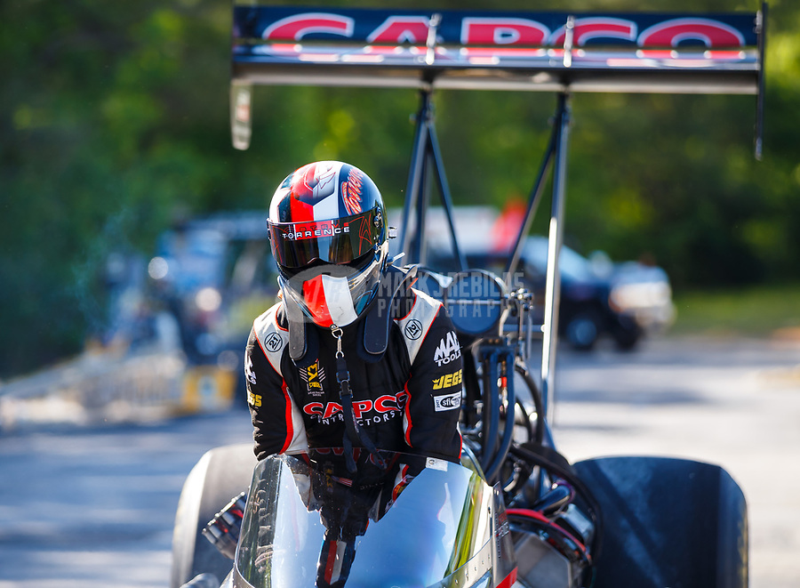 May 7, 2017; Commerce, GA, USA; NHRA top fuel driver Steve Torrence after winning the Southern Nationals at Atlanta Dragway. Mandatory Credit: Mark J. Rebilas-USA TODAY Sports
