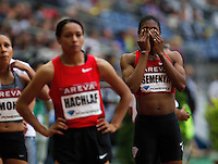 08 JUL 2011 - PARIS, FRA - Caster Semenya (right) waits for the start of the women's 800m race at the Meeting Areva round of the Samsung Diamond League (PHOTO (C) NIGEL FARROW)