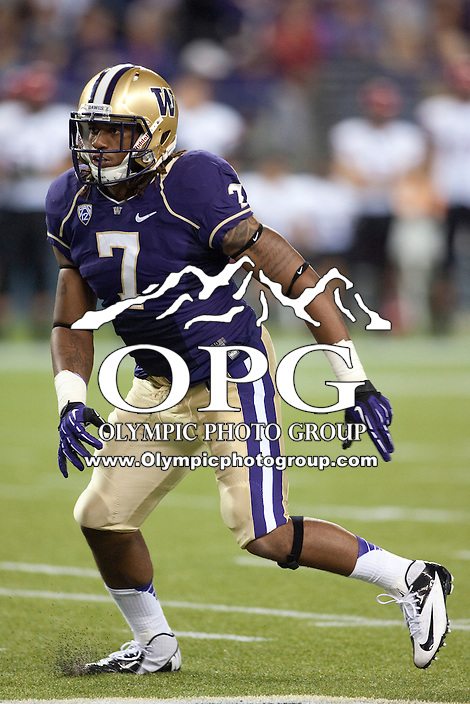 Sept 01, 2012:  Washington's #7 Shaq Thompson against San Diego State.  Washington defeated San Diego State 21-12 at CenturyLink Field in Seattle, Washington...
