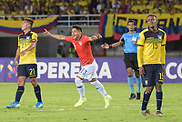 PEREIRA - COLOMBIA, 18-01-2020: Camilo Moya de Chile celebra después de anotar el segundo gol de su equipo a Ecuador durante partido de la fecha 1, grupo A, del CONMEBOL Preolímpico Colombia 2020 jugado en el estadio Hernán Ramírez Villegas de Pereira, Colombia. /  Camilo Moya of Chile celebrates after scoring the second goal of his team to Ecuador during match of the date 1, group A, for the CONMEBOL Pre-Olympic Tournament Colombia 2020 played at Hernan Ramirez Villegas stadium in Pereira, Colombia. Photo: VizzorImage / Mauricio Ortiz / Cont
