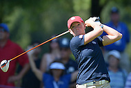 Owings Mills, MD - July 26, 2014: Stacy Lewis, of Team USA, tees off on the 10th hole during Round 3 of four-ball competition at the LPGA International Crown at the Caves Valley Golf Club in Owings Mills, MD on July 26, 2014. 32 players from twelve countries competed in this inaugural tournament.  (Photo by Don Baxter/Media Images International)