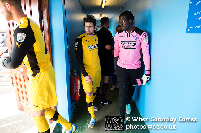 Lowestoft Town 2 Barrow 3, 25/04/2015. Crown Meadow, Conference North. Barrow make the six-hour trip to Suffolk needing a win to secure the title. Barrow in yellow venture out of the dressing rooms along with home goalkeeper Ashlee Jones. Photo by Simon Gill.