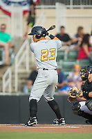 Connor Joe (23) of the West Virginia Power at bat against the Kannapolis Intimidators at Intimidators Stadium on July 3, 2015 in Kannapolis, North Carolina.  The Intimidators defeated the Power 3-0 in a game called in the bottom of the 7th inning due to rain.  (Brian Westerholt/Four Seam Images)