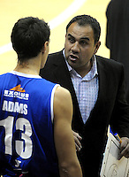 Saints coach Pero Cameron talks to Steve Adams before tipoff. NBL - Wellington Saints v Southland Sharks at TSB Bank Arena, Wellington, New Zealand on Friday, 22 April 2011. Photo: Dave Lintott / lintottphoto.co.nz