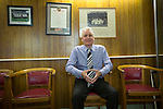 Club chairman Paul Leary in the now disused old boardroom at the Mersey Travel Arena, home to Marine Football Club, as they played host to Ilkeston FC in a Northern Premier League premier division match. The match was won by the home side by 3 goals to 1 and was watched by a crowd of 398. Marine are baed in Crosby, Merseyside and have played at Rossett Park (now the Mersey Travel Arena)  since 1903, the club having been formed in 1894.