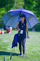 C.T. Pan's (TAI) wife stays cool in the shade as C.T. putts on 2  during round 1 of the Shell Houston Open, Golf Club of Houston, Houston, Texas, USA. 3/30/2017.<br /> Picture: Golffile | Ken Murray<br /> <br /> <br /> All photo usage must carry mandatory copyright credit (&copy; Golffile | Ken Murray)