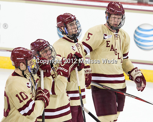Danny Linell (BC - 10), Steven Whitney (BC - 21), Colin Sullivan (BC - 2), Michael Matheson (BC - 5) - The Boston College Eagles defeated the visiting University of Notre Dame Fighting Irish 3-1 (EN) on Friday, November 9, 2012, at Kelley Rink in Conte Forum in Chestnut Hill, Massachusetts.