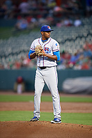 Round Rock Express relief pitcher Jose Valdespina (75) gets ready to deliver a pitch during a game against the Memphis Redbirds on April 28, 2017 at AutoZone Park in Memphis, Tennessee.  Memphis defeated Round Rock 9-1.  (Mike Janes/Four Seam Images)
