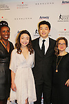 Candace Matthews and Sharon Cohen pose with Maia & Alex Shibutani - 2016 World Silver Medalists / 2016 National Champions - The 11th Annual Skating with the Stars Gala - a benefit gala for Figure Skating in Harlem on April 11, 2016 on Park Avenue in New York City, New York with many Olympic Skaters and Celebrities. (Photo by Sue Coflin/Max Photos)