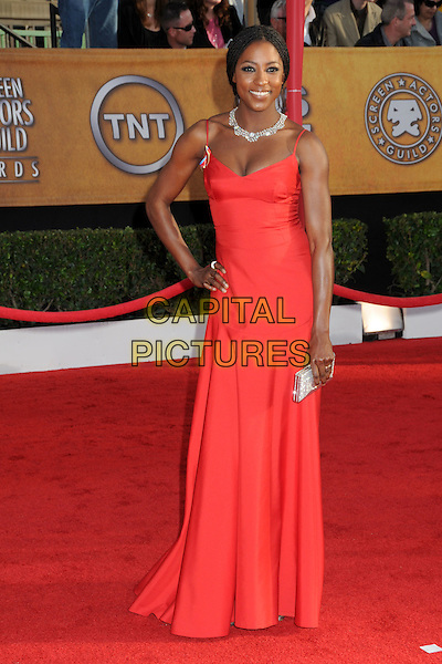 RUTINA WESLEY.16th Annual Screen Actors Guild Awards - Arrivals held at The Shrine Auditorium, Los Angeles, California, USA..January 23rd, 2009.SAG SAGs full length maxi dress red pink dress diamond necklace hand on hip clutch bag.CAP/ADM/BP.©Byron Purvis/Admedia/Capital Pictures