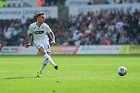 Barrie McKay of Swansea City in action during the Sky Bet Championship match between Swansea City and Rotherham United at the Liberty Stadium in Swansea, Wales, UK.  Friday 19 April 2019