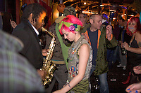 Mr Shankly's sax man Peter Lewis, moves from stage into audience, Barnboppers and Shuddervision, Ska-lloween Gig 29 October 2011 The Wagon and Horses, Digbeth,