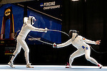 25 MAR 2016:  Penn State's Jessie Gottesman-Radanovich scores against Princeton's Charlene Liu in her win in the finals of the women's epee at the Division I Women's Fencing Championship  held at the Gosman Sports and Convention Center in Waltham, MA.   Damian Strohmeyer/NCAA Photos