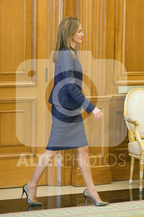 Princess Letizia of Spain attends an official audience with Spanish Federation to Tackling Multiple Sclerosis (FELEM) representatives at Zarzuela Palace in Madrid, Spain. March 14, 2014. (ALTERPHOTOS/Victor Blanco)