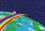 Illustrative image of couple walking on rainbow over globe representing world tour