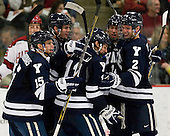 Clinton Bourbonais (Yale - 15), ?, Trent Ruffolo (Yale - 11), ?, Gus Young (Yale - 2) - The Yale University Bulldogs defeated the Harvard University Crimson 5-1 on Saturday, November 3, 2012, at Bright Hockey Center in Boston, Massachusetts.