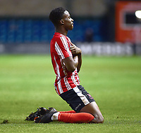 Lincoln City U18's Jordan Adebayo-Smith celebrates scoring his side's second goal<br /> <br /> Photographer Andrew Vaughan/CameraSport<br /> <br /> The FA Youth Cup Second Round - Lincoln City U18 v South Shields U18 - Tuesday 13th November 2018 - Sincil Bank - Lincoln<br />  <br /> World Copyright © 2018 CameraSport. All rights reserved. 43 Linden Ave. Countesthorpe. Leicester. England. LE8 5PG - Tel: +44 (0) 116 277 4147 - admin@camerasport.com - www.camerasport.com