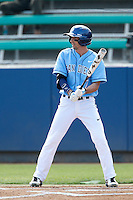 Dillion Checkal #7 of the University of San Diego Toreros bats against the Loyola Marymount Lions at Page Stadium on April 5, 2013 in Los Angeles, California. (Larry Goren/Four Seam Images)