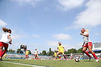 Cary, North Carolina  - Sunday May 21, 2017: Samantha Johnson prior to a regular season National Women's Soccer League (NWSL) match between the North Carolina Courage and the Chicago Red Stars at Sahlen's Stadium at WakeMed Soccer Park. Chicago won the game 3-1.