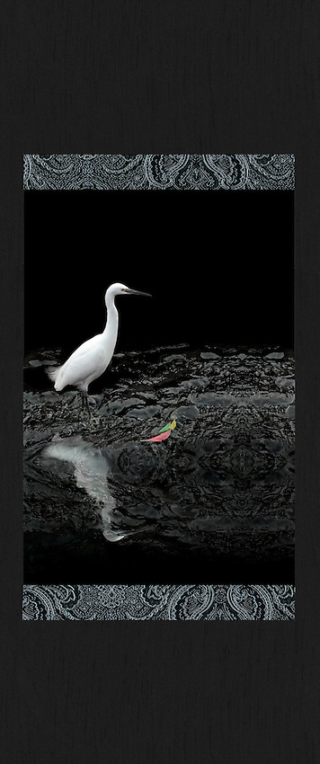 Gicl&eacute;e with brocade and shantung fabrics. 26&rdquo; x 52&rdquo;.<br />