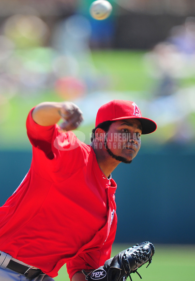 Mar. 14, 2012; Phoenix, AZ, USA; Anaheim Angels pitcher Ervin Santana throws in the first inning against the Chicago White Sox at The Ballpark at Camelback Ranch. Mandatory Credit: Mark J. Rebilas-