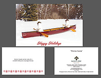 """Whitewater Canoeing"" holiday cards, cards/envelopes, greeting inside, approx. 5""x7"" folded; individual or pack of 10"