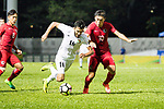 Musa Altmari of Jordan (L) fights for the ball with Huang Yang of Hong Kong (R) during the International Friendly match between Hong Kong and Jordan at Mongkok Stadium on June 7, 2017 in Hong Kong, China. Photo by Cris Wong / Power Sport Images