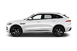 Car Driver side profile view of a 2017 Jaguar F-PACE 20d-R-Sport-AWD 5 Door SUV Side View