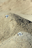 Pictured: Piles of soil waiting to be examined by officers in Kos, Greece. Thursday 06 October 2016<br />