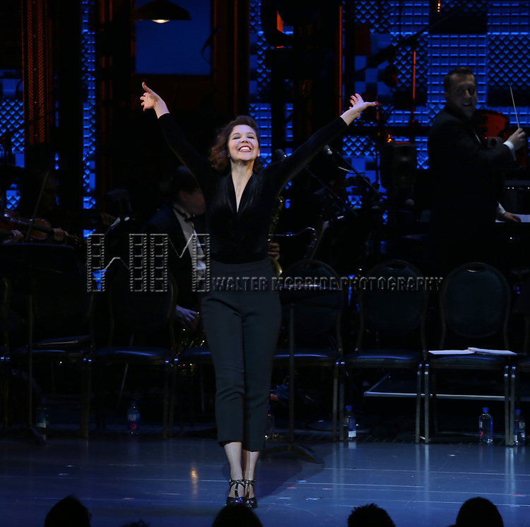 Maggie Gyllenhaal during the Curtain Call for the Roundabout Theatre Company presents a One-Night Benefit Concert Reading of 'Damn Yankees' at the Stephen Sondheim Theatre on December 11, 2017 in New York City.