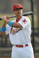 Infielder Tyler Rahmatulla (18) of the Johnson City Cardinals, Appalachian League affiliate of the St. Louis Cardinals, prior to a game against the Danville Braves on August 19, 2011, at Howard Johnson Field in Johnson City, Tennessee. Danville defeated Johnson City, 5-4, in 16 innings. Rahmatulla was named to the 2011 Appalachian League Postseason All-Star Team. (Tom Priddy/Four Seam Images)