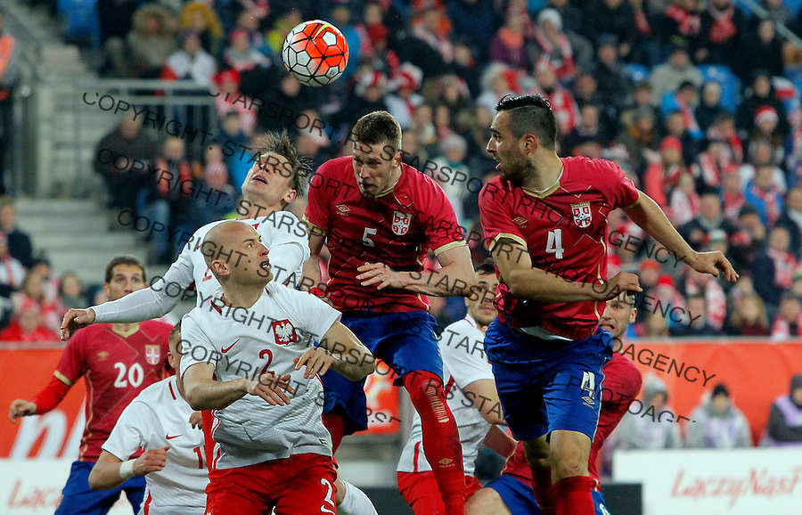 Slobodan Rajkovic Nikola Maksimovic  Poljska - Srbija prijateljska, Poland - Serbia friendly football match, March 23. 2016. Poznan  (credit image & photo: Pedja Milosavljevic / STARSPORT)