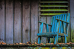 A old blue chair in Mt Wilson in the Blue Mountains west of Sydney in Australia