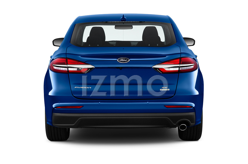 Straight rear view of 2020 Ford Fusion SE 4 Door Sedan Rear View  stock images