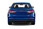 Straight rear view of 2019 Ford Fusion SE 4 Door Sedan Rear View  stock images