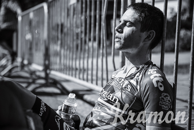 Wout van Aert (BEL/Veranda's Willems Crelan) post race. He lost his GC jersey after todays mini LBL stage.<br /> <br /> Baloise Belgium Tour 2017 (2.HC)<br /> Stage 4: Ans-Ans 167,8km