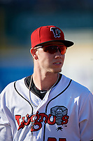 Lansing Lugnuts LJ Talley (25) before a Midwest League game against the Burlington Bees on July 18, 2019 at Cooley Law School Stadium in Lansing, Michigan.  Lansing defeated Burlington 5-4.  (Mike Janes/Four Seam Images)