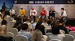 Skippers attend a post arrival press conference during Volvo Ocean Race Leg 3 Abu Dhabi-Sanya on January 27, 2015 in Sanya, China. The Volvo Ocean Race 2014-15 is the 12th running of this ocean marathon. Starting from Alicante in Spain on October 11, 2014, the route, spanning some 39,379 nautical miles, visits 11 ports in 11 countries (Spain, South Africa, United Arab Emirates, China, New Zealand, Brazil, United States, Portugal, France, the Netherlands and Sweden) over nine months. The Volvo Ocean Race is the world's premier ocean race for professional racing crews. Photo by Victor Fraile / Power Sport Images