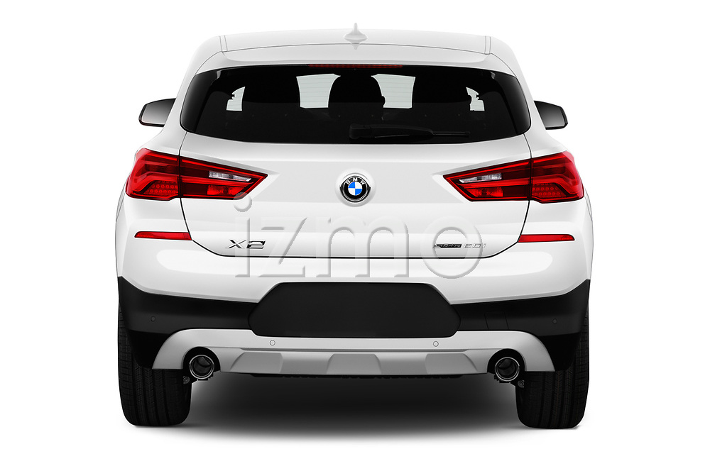Straight rear view of a 2019 BMW X2 Standard 5 Door SUV stock images