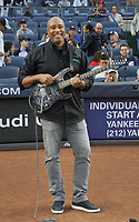 NEW YORK, NY - September 1 : Legendary Yankee and Latin Grammy-nominated musician Bernie Williams performing the national anthem at Yankee Stadium during Pulmonary Fibrosis Awareness Month in honor of his father who passed away from the rare lung disease idiopathic pulmonary fibrosis (IPF) .September 1, 2017 in New York City.@Bill Menzel / Media Punch