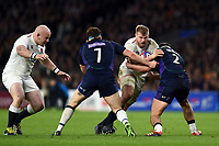 George Kruis of England takes on the Scotland defence. Guinness Six Nations match between England and Scotland on March 16, 2019 at Twickenham Stadium in London, England. Photo by: Patrick Khachfe / Onside Images