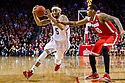 January 20, 2014: Terran Petteway (5) of the Nebraska Cornhuskers drives around LaQuinton Ross (10) of the Ohio State Buckeyes at the Pinnacle Bank Arena, Lincoln, NE. Nebraska won in the game against Ohio State 68 to 62.