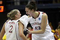 BERKELEY, CA - MARCH 30: Sarah Boothe congratulates Jayne Appel on her record breaking night during Stanford's 74-53 win against the Iowa State Cyclones on March 30, 2009 at Haas Pavilion in Berkeley, California.