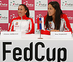 Tenis, Fed Cup 2011, play-off for group A.Slovakia Vs. Serbia, Official Draw.Jelena Jankovic, left and Ana Ivanovic.Bratislava, 15.04.2011..foto: Srdjan Stevanovic/Starsportphoto ©