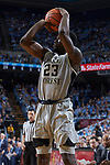 Chaundee Brown (23) of the Wake Forest Demon Deacons attempts a jump shot during second half action against the North Carolina Tar Heels at the Dean Smith Center on December 30, 2017 in Chapel Hill, North Carolina.  The Tar Heels defeated the Demon Deacons 73-69.  (Brian Westerholt/Sports On Film)