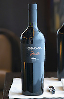 Bottle of Chakana Malbec 2003 Reserve Lujan de Cuyo Mendoza The Restaurant Red at the Hotel Madero Sofitel in Puerto Madero, Buenos Aires Argentina, South America