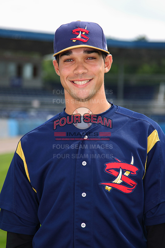 State College Spikes pitcher Matt Benedict #37 poses for a photo before a game against the Batavia Muckdogs at Dwyer Stadium on July 7, 2011 in Batavia, New York.  Batavia defeated State College 16-3.  (Mike Janes/Four Seam Images)