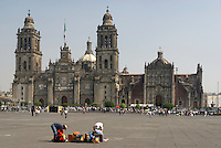 Metropolitan Cathedral or Catedral Metropolitano on the Zocalo in downtown Mexico City
